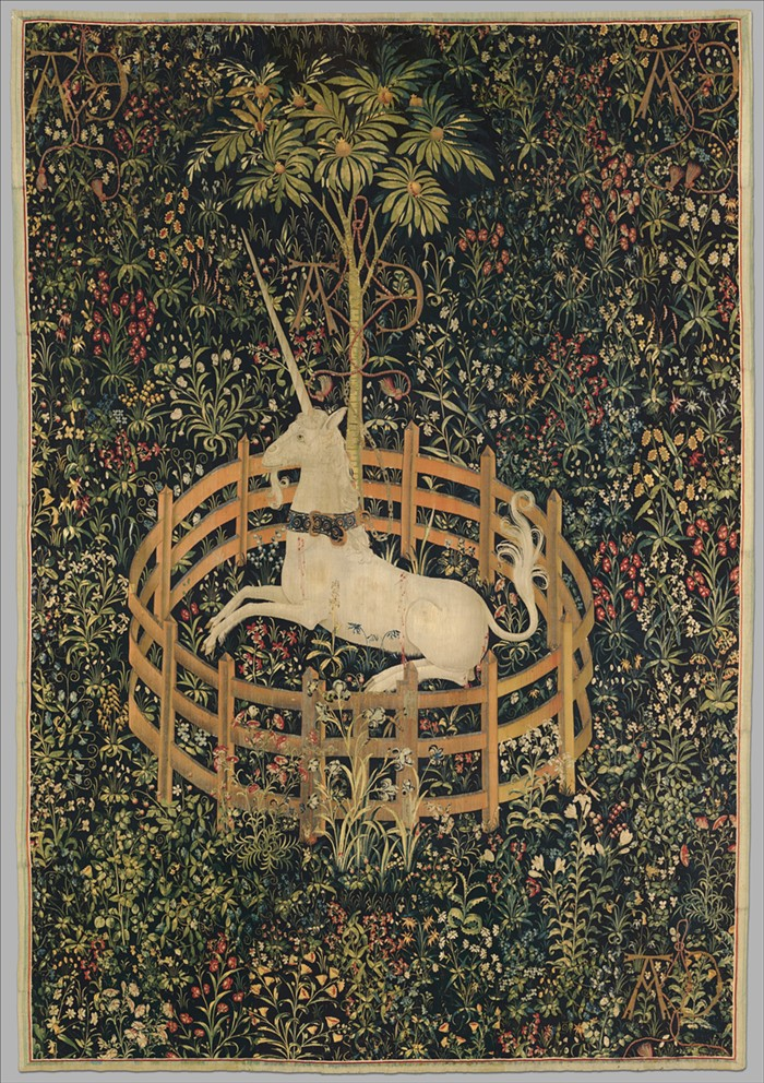 The Unicorn Rests in a Garden (1495–1505). This tapestry has a big impact on Cryptozoo, but especially its opening scene.