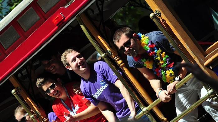 Facebook employees take a break from profiting off of transphobia to celebrate San Francisco Pride