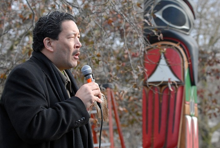 Bruce Harrell at the John T. Williams totem pole memorial ceremony. Harrell was the only councilmember to meet directly with the Willams family following his death at the hands of SPD in 2010.