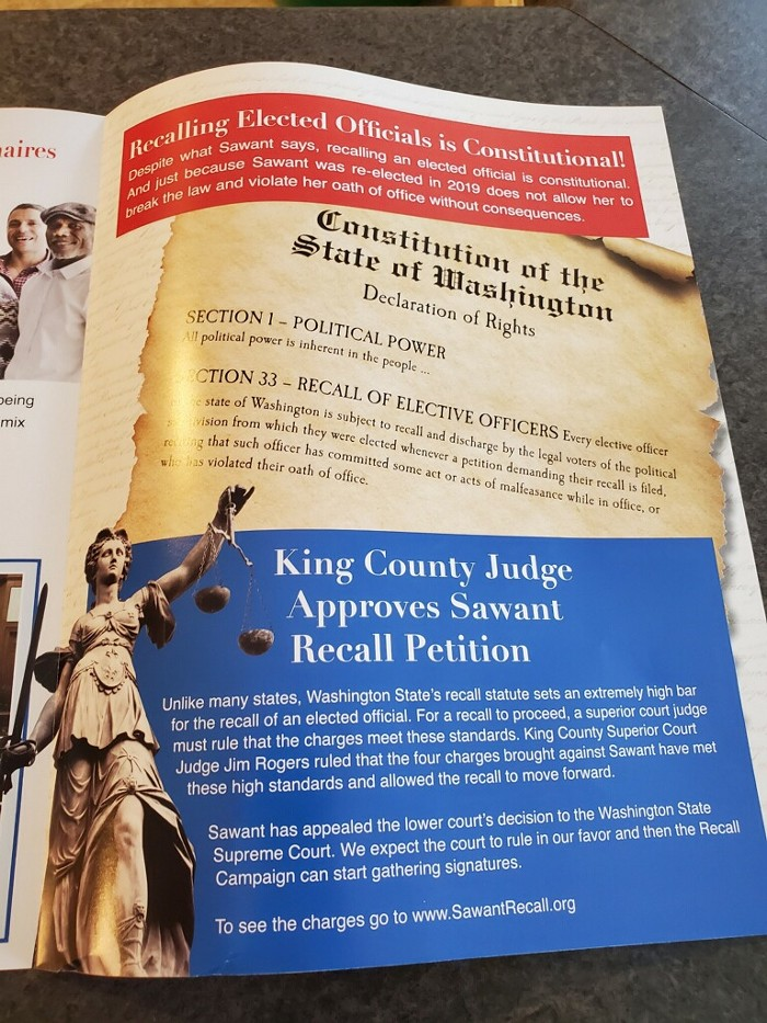 This mailer from March touts the recall certification from the King County District Court.