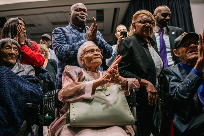 Three survivors of the Tulsa Race Massacre at a commemoration of the 100th anniversary event today in Tulsa, OK.