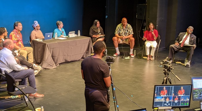 Eight mayoral candidates talked about their plans to revitalize the arts at the Langston Hughes Performing Arts Institute on Thursday night.