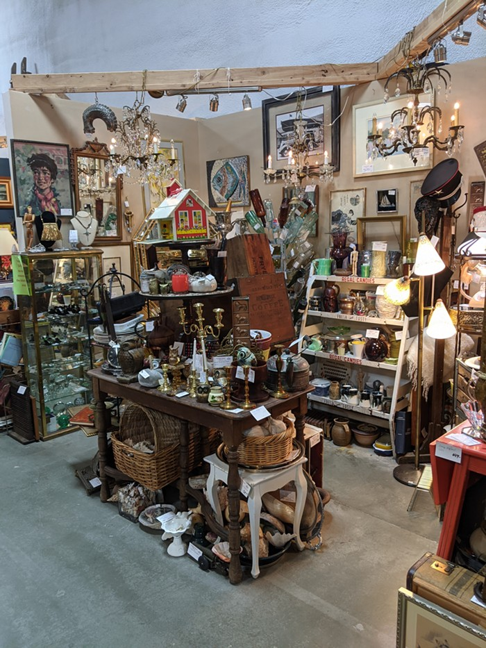 Sandy Marshall, the Treasure Queen, has been a vendor at both Pacific Galleries and Epic Antiques. Pictured is her booth at Epic.