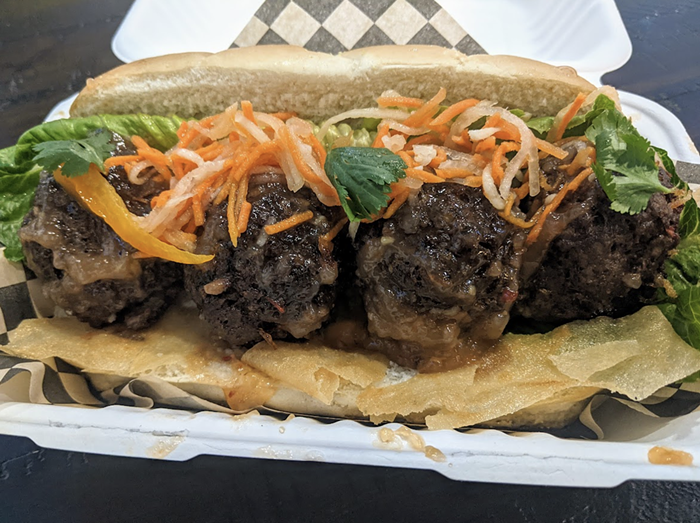 The lumpia wrapper-accented sub with beef meatballs. They hold a secret surprise.