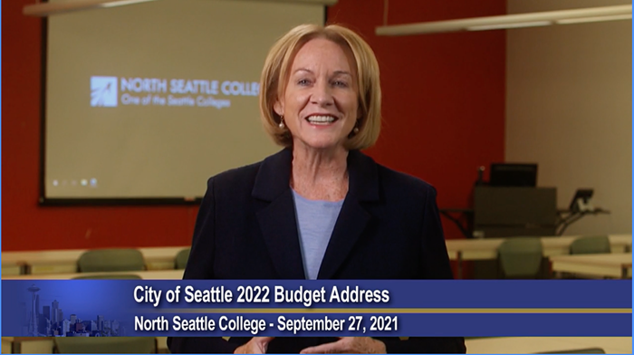 Durkan enjoying the spacious environs of North Seattle College.