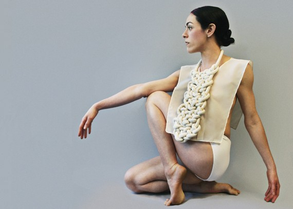 Zoe Scofield, the choreographer and dancer, wearing garments by Anna Telcs in 2013.