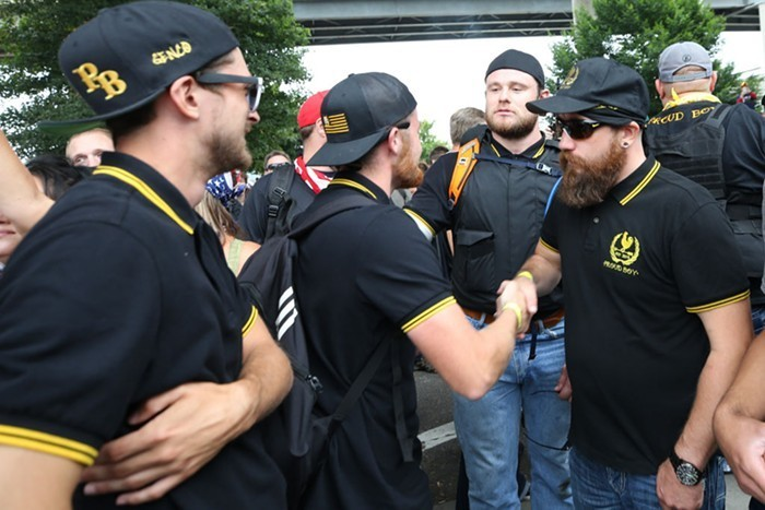 The Proud Boys, now a designated terrorist organization in Canada. (Imagine choosing this look as your uniform!)