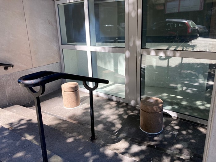 The new bollards, which workers have described as hostile architecture, could prevent people from pitching a tent near the 1st and University entrance.