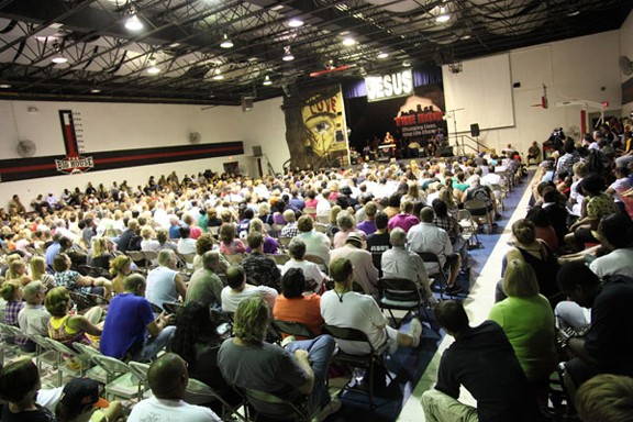 A 2010 service is packed at the church's former Warwick Road location. - CHRISTINE LOCKERBY