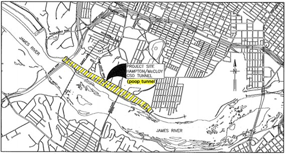 A city map shows the location of the Hampton-McCloy tunnel. Maymont is located behind the locator tag. You can find more maps here. - CITY OF RICHMOND