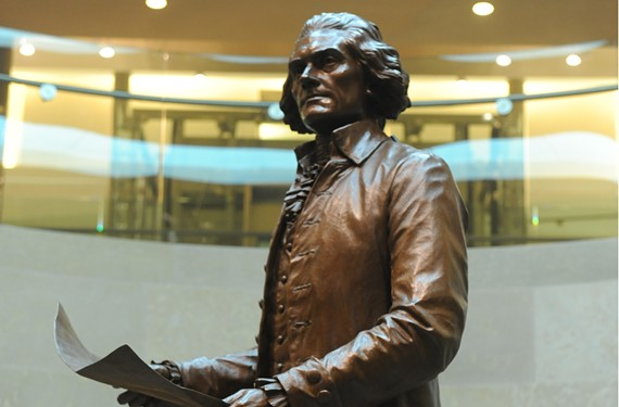 A likeness of Thomas Jefferson by Ivan Schwartz, Richmond's seventh public statue of the third president, recently was installed in the extension of the Capitol. - SCOTT ELMQUIST