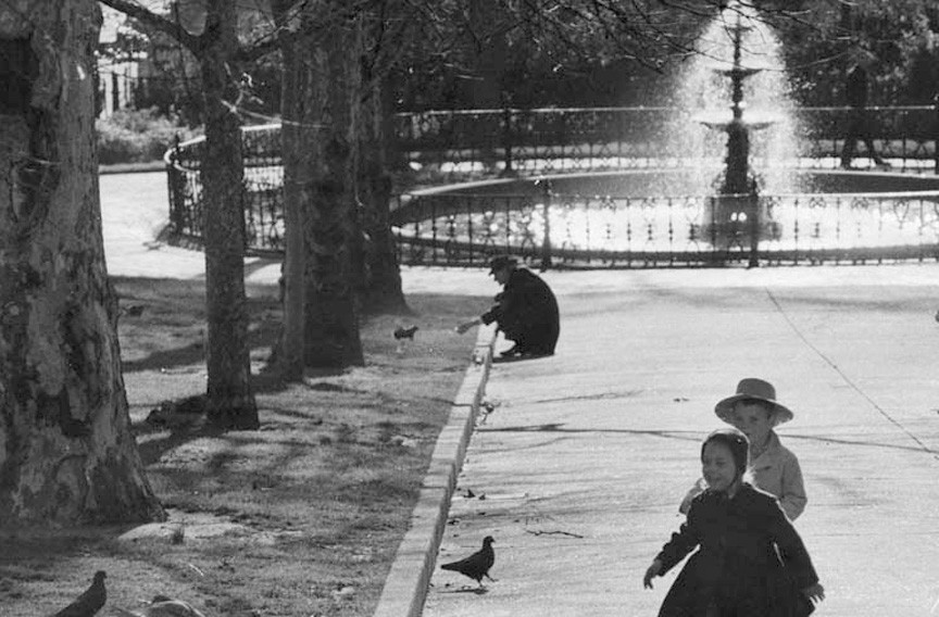 A man pauses in Capitol Square to offer food to squirrels while children chase pigeons. By 1960, when this photo was taken, squirrels were common in cities across the country. - RICHMOND TIMES-DISPATCH COLLECTION/VALENTINE RICHMOND HISTORY CENTER
