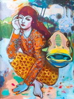 """A recent transplant from Northern Virginia, Jennie Keys' """"Untitled#10,"""" oil on canvas, is at Ghostprint Gallery."""