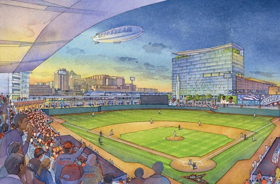 A rendering of the mayor's proposed ballpark in Shockoe Bottom.