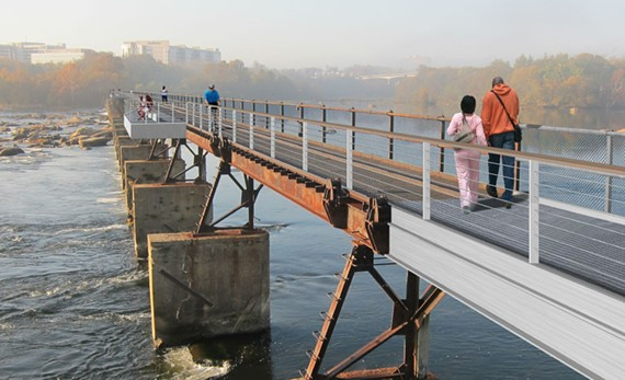 A rendering of the proposed Brown's Island dam walk, which is scheduled to be completed next year.