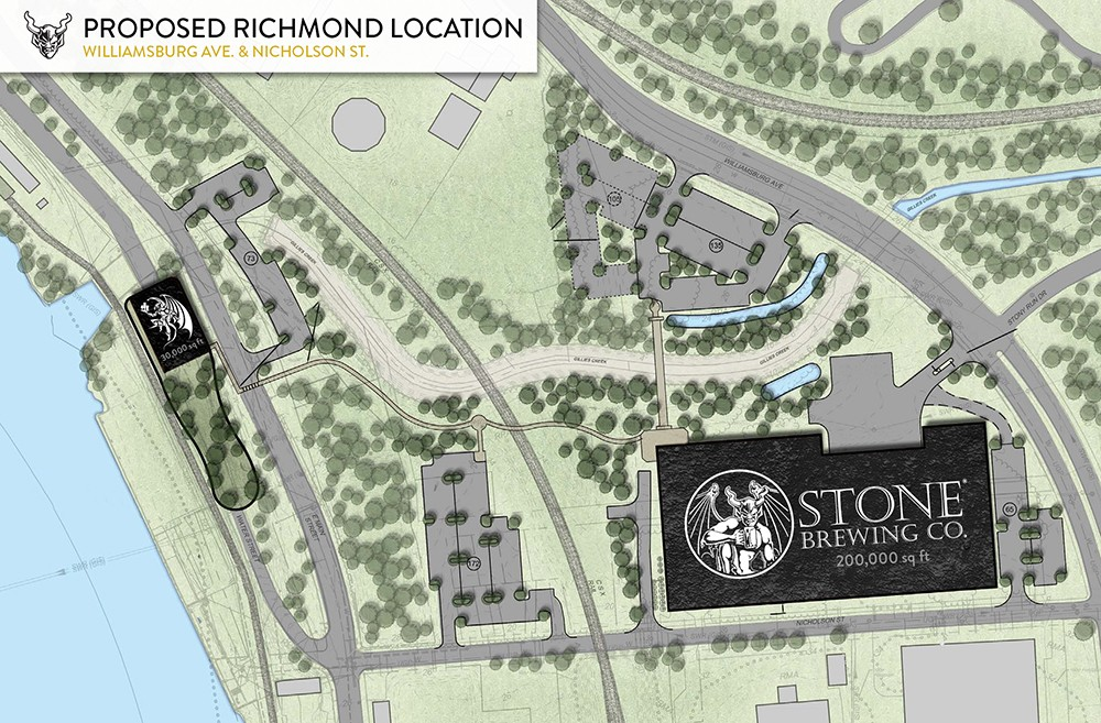 A rendering of the proposed Fulton Hill brewery and restaurant. - STONE BREWING CO.
