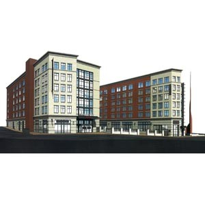 A rendering provided by developer Apple REIT Cos. shows the dual Marriotts, courtyard and monument to religious freedom planned for 14th and Cary streets.