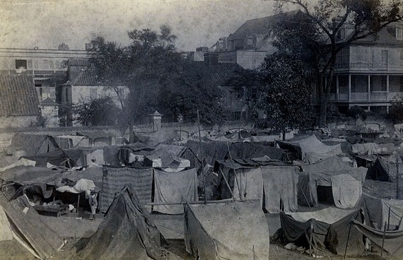 "A tent city in Washington Square housed homeless Charleston, S.C., residents after the 1886 quake. Stephen G. Hoffius and Susan Millar Williams wrote ""Upheaval in Charleston: Earthquake and Murder on the Eve of Jim Crow."" - WARING HISTORICAL LIBRARY, MEDICAL UNIVERSITY OF SOUTH CAROLINA"