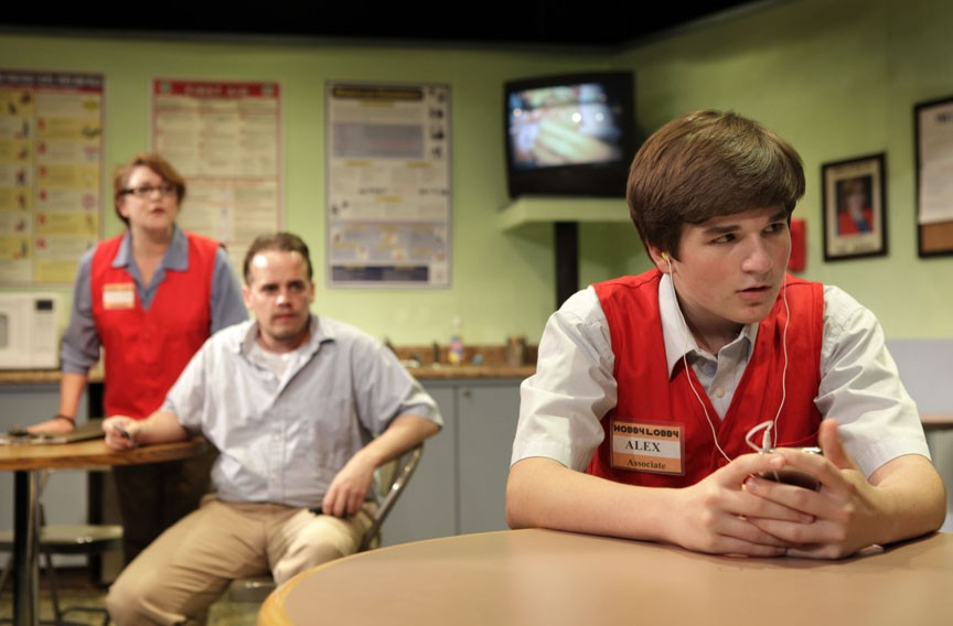 A tormented father (Billy Christopher Maupin) tries to reconnect with his estranged son Alex (Nathaniel Smith) in the Hobby Lobby break room, joined by interfering store manager Pauline (Jill Bari Steinberg). - JAY PAUL
