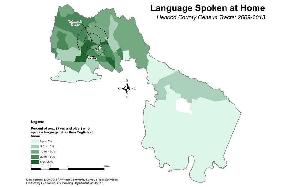 About 30 percent of people living within a mile of Tuckernuck Square speak a language other than English at home, twice the countywide average.