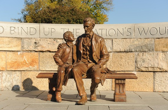 Abraham Lincoln's visit to Richmond with son Tad on April 5, 1865, is commemorated with a bronze statue by sculptor David Frech at the Richmond National Battlefield Park Civil War Visitor Center downtown. - SCOTT ELMQUIST
