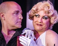 """Actor Matt Beyer stars as Georges and Kirk Morton plays his wife, Albin, in the Tony-winning musical which translates literally to """"the cage of mad women."""""""