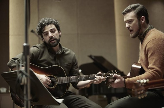 Actor Oscar Isaac, left, is earning kudos for his portrayal of struggling folk singer Llewyn Davis, loosely based on the Mayor of McDougal Street, singer Dave Van Ronk.  Justin Timberlake plays his best friend, Jim.