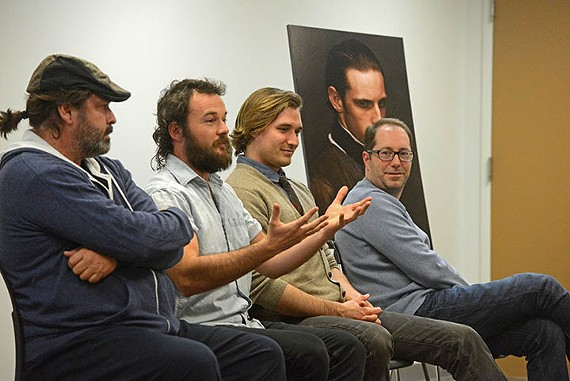 "Actors Angus Macfadyen, Daniel Henshall and Seth Numrich with executive producer and ""Turn"" creator Craig Silverstein, speak with reporters during a local media day."