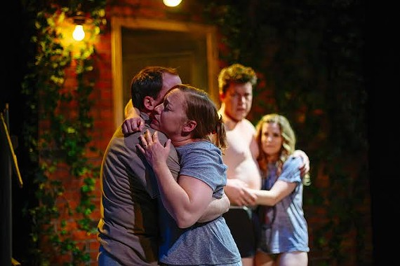 """Actors Larry Cook (as Ben), Laine Satterfield (Mary), Landon Nagel (Kenny) and Chris Lindsay-Abaire (Sharon) do great work exploring the illusions of the suburbs in Cadence Theatre Company's """"Detroit."""""""
