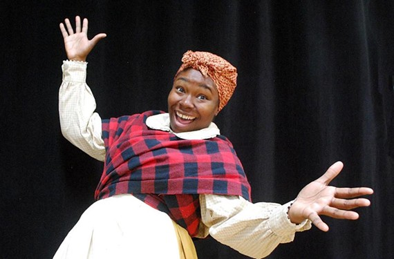 """Actress Raven L. Wilkes explores the Aunt Jemima stereotype as Aunt Ethel in VCU Theater's educational new work, """"The Colored Museum."""""""