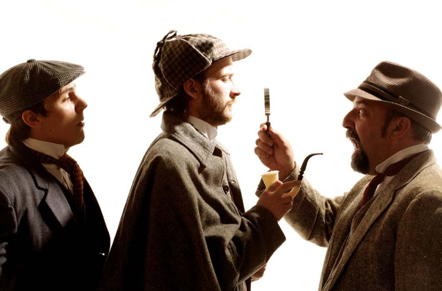 """Adam Turck (as Sir Henry), Matthew Mitchell (as Sherlock Holmes) and David Clark (as Watson) appear in """"The Hound of the Baskervilles"""" at Hanover Tavern. - JAY PAUL"""
