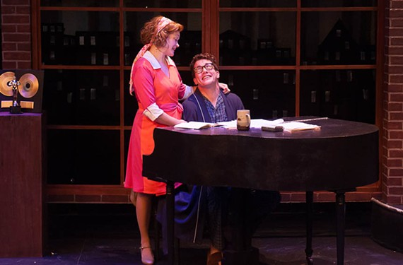 "Aly Wepplo and Landon Nagel portray the real-life relationship between composer Marvin Hamlisch and lyricist Carole Bayer Sager in the musical ""They're Playing Our Song"" at Hanover Tavern."