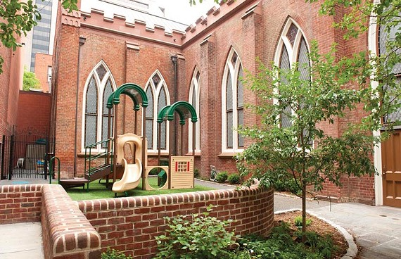 An environmentally-savvy playground at Second Presbyterian Church is a recent eco-friendly renovation downtown. - SCOTT ELMQUIST
