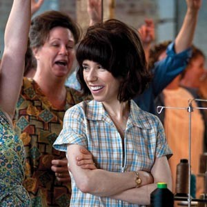"""The longer the picket line, the shorter the strike.""  Sally Hawkins is Rita O'Grady in ""Made in Dagenham,"" a new British film that details the fight for equal pay for women.  Photo by Susie Allnut"