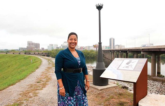 Anedra Bourne, the city's new tourism coordinator, hopes to bring more visitors to the Richmond Slave Trail with tours and maybe a mobile telephone app. - SCOTT ELMQUIST