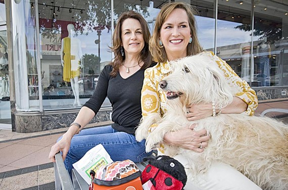 Ann Glenn and Beth Halloran say their dogs, including Hallie, helped inspire their idea for Wag-in-a-Box.