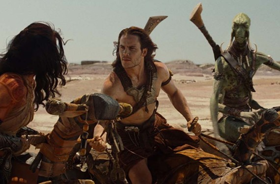 """Are you CGI or am I?"" Lynn Collins, Taylor Kitsch and Samantha Morton star in a big- budget fantasy film based on the sci-fi novels of Edgar Rice Burroughs. - DISNEY"