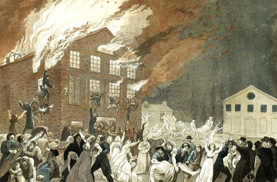 As portrayed in this undated lithograph, the Richmond Theatre fire of Dec. 26, 1811, was one of the city's worst tragedies, resulting in 72 deaths. Now in its place at 1224 E. Broad St. stands Monumental Church, where local theater groups will stage the same bill Jan. 20.
