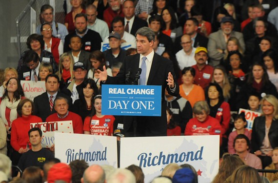 Attorney General Ken Cuccinelli, at Mitt Romney's campaign rally last week in Doswell, paid $10,000 to a company engaged in cell-phone spamming, according to National Public Radio. - SCOTT ELMQUIST