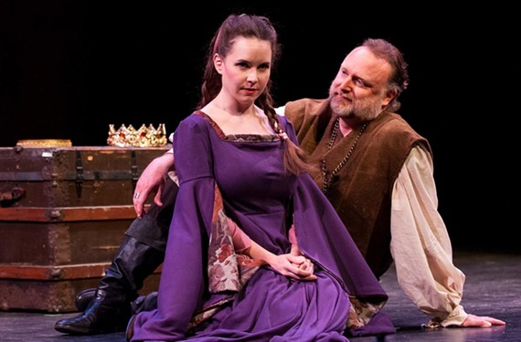 "Audra Honaker as Alais and David Bridgewater as King Henry in ""The Lion in Winter,"" which is being staged at the Leslie Cheek Theater at VMFA."