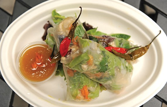 Barbecue tofu spring rolls get a dousing of sesame fruit sauce at downtown's hottest, smallest eatery, the Citizen. - SCOTT ELMQUIST