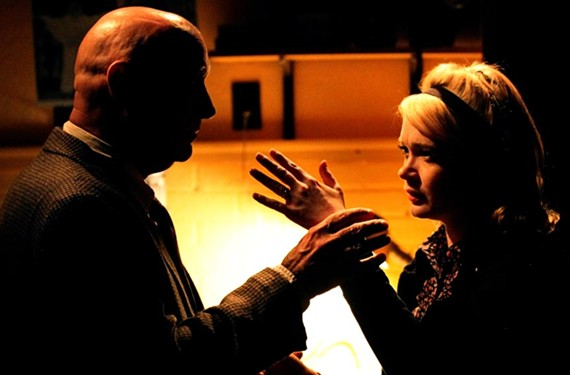 """Barry Pruitt and Aly Wepplo play a cat and mouse game in Swift Creek Mill's spine-tingling production of """"Wait Until Dark."""" - ROBYN O'NEILL"""
