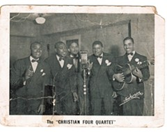 "Before he joined the Harmonizing Four, Lonnie, at far right with guitar, formed the Christian Four Quartet, which he described as having ""more of a jump, jubilee style than the conservative Harmonizing Four. - COURTESY OF THE SMITH FAMILY"