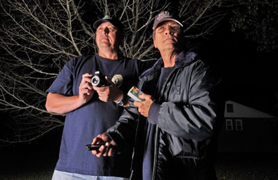 "Big Ray Rucker and Ken ""K.B."" Ballos of the Ghost Raps RIP paranormal team. - SCOTT ELMQUIST"