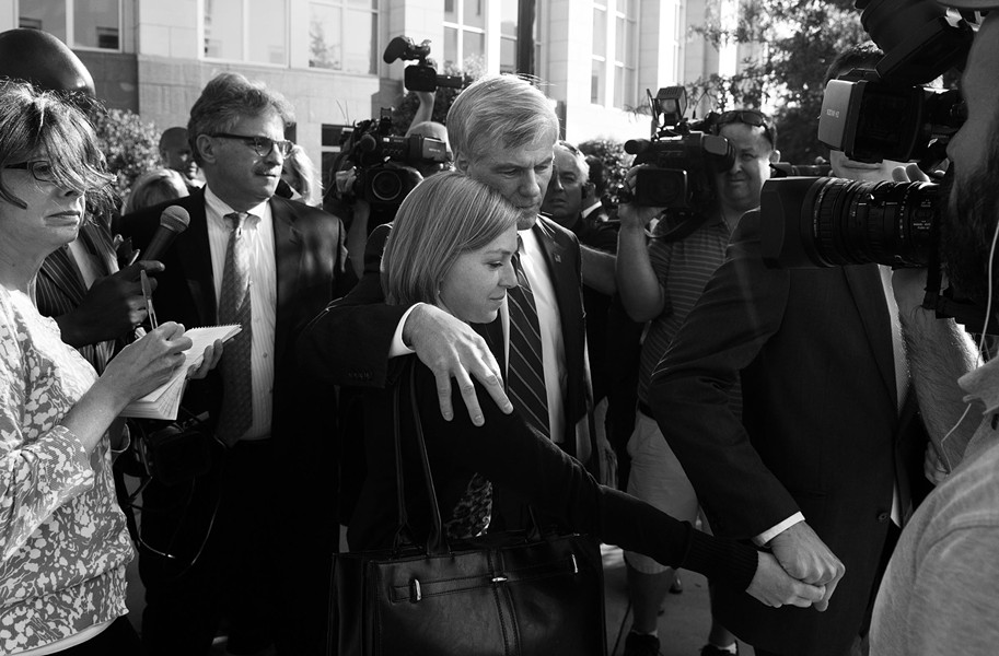 Bob McDonnell will lose his license to practice law unless his conviction is reversed on appeal. McDonnell leaves the courthouse during the five-week trial with his daughter, Cailin. - SCOTT ELMQUIST