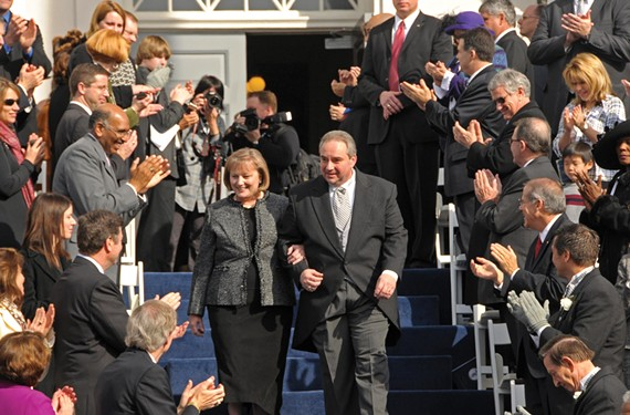 Bolling and his wife, Jean Ann, exit the Capitol on inauguration day as then-Republican National Committee Chairman Michael Steele and George Allen look on. - SCOTT ELMQUIST
