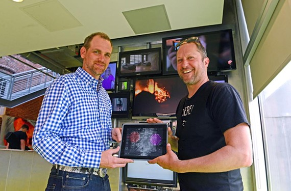 Bon Air resident Steve Van Dam and business partner Craig Honeycutt, both members of the '90s band Everything, show off their music app, Project Oro, which makes interactive music videos on the fly.