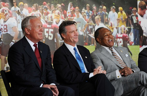 Bon Secours Virginia Chief Executive Peter Bernard and Washington Redskins General Manager Bruce Allen join Mayor Dwight Jones at last week's groundbreaking ceremony. - SCOTT ELMQUIST
