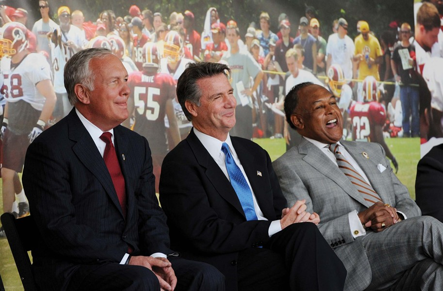Bon Secours Virginia Chief Executive Peter Bernard and Washington Redskins General Manager Bruce Allen join Mayor Dwight Jones at last week's groundbreaking ceremony. - SCOTT ELMQUIST