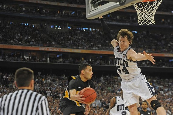 Butler star Matt Howard denies VCU's Joey Rodriguez's inbound pass. - SCOTT ELMQUIST